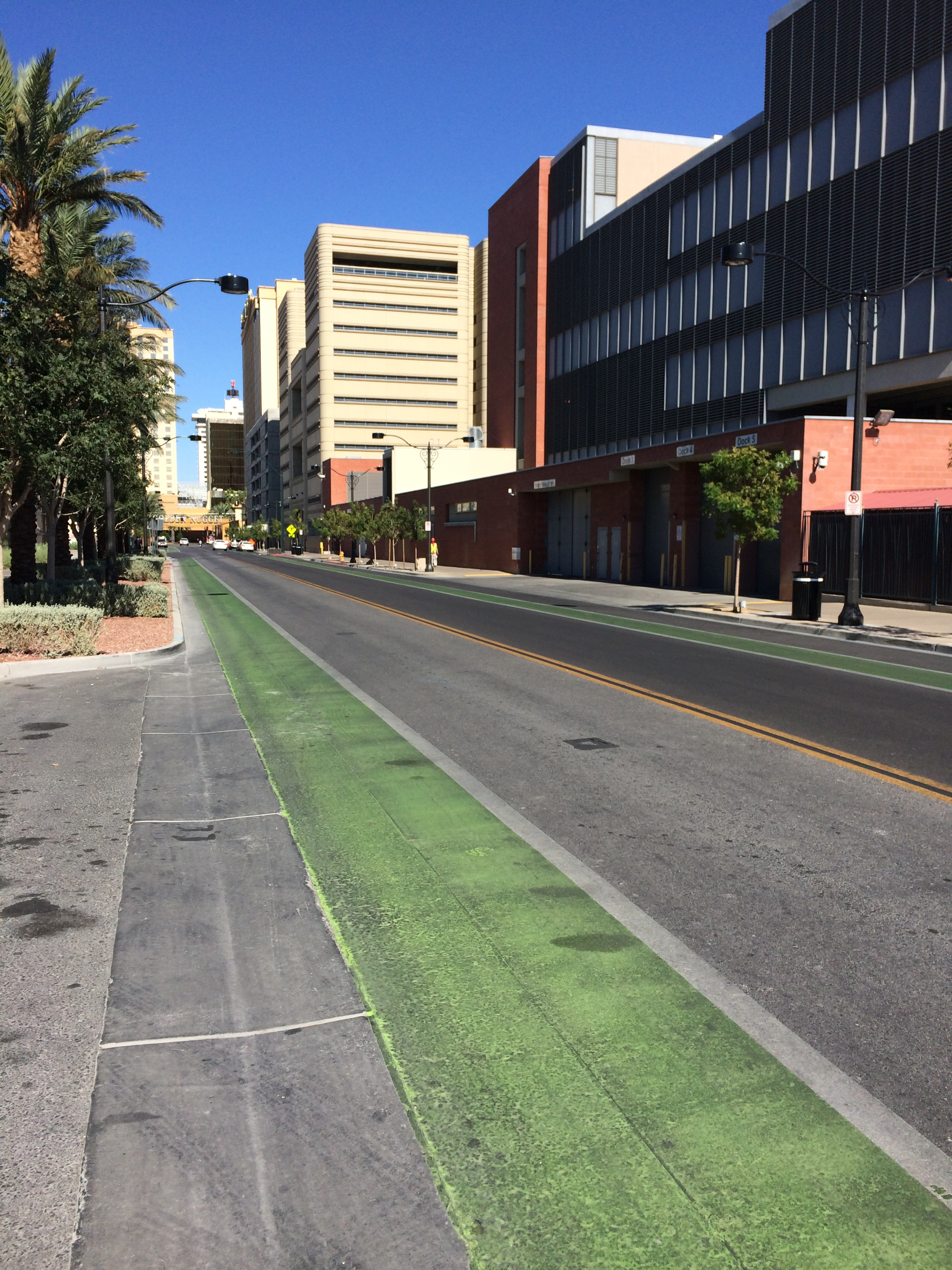 Bike lanes on both sides of the street.  Many North American cities have streets wide enough for bike lanes, unlike many older European towns and cities which can have narrow streets.