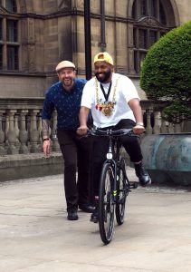 Lord Mayor Magid Magid with his new mayoral bike presented by Russell Cutts of Russell's Bicycle Shed as part of South Yorkshire's Love to Ride programme for 2018
