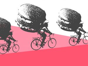 Deliveroo graphic - riders with burgers on their back