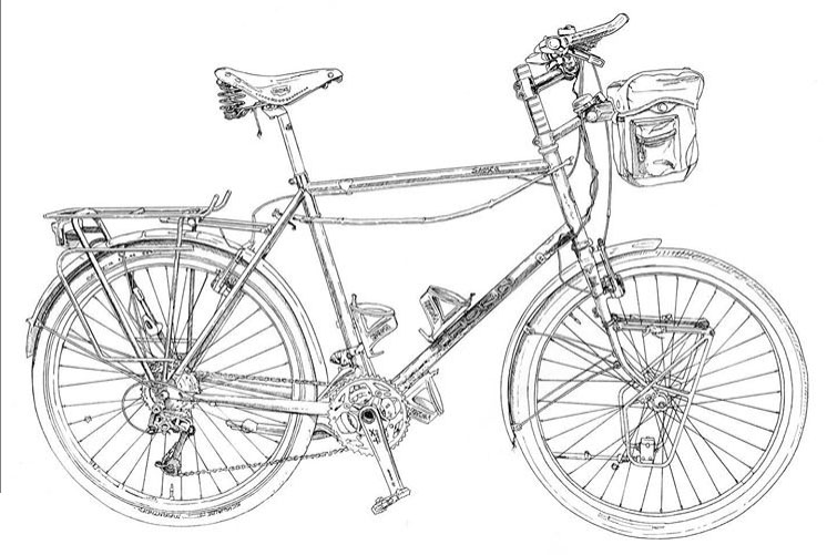 Illustration of touring bike