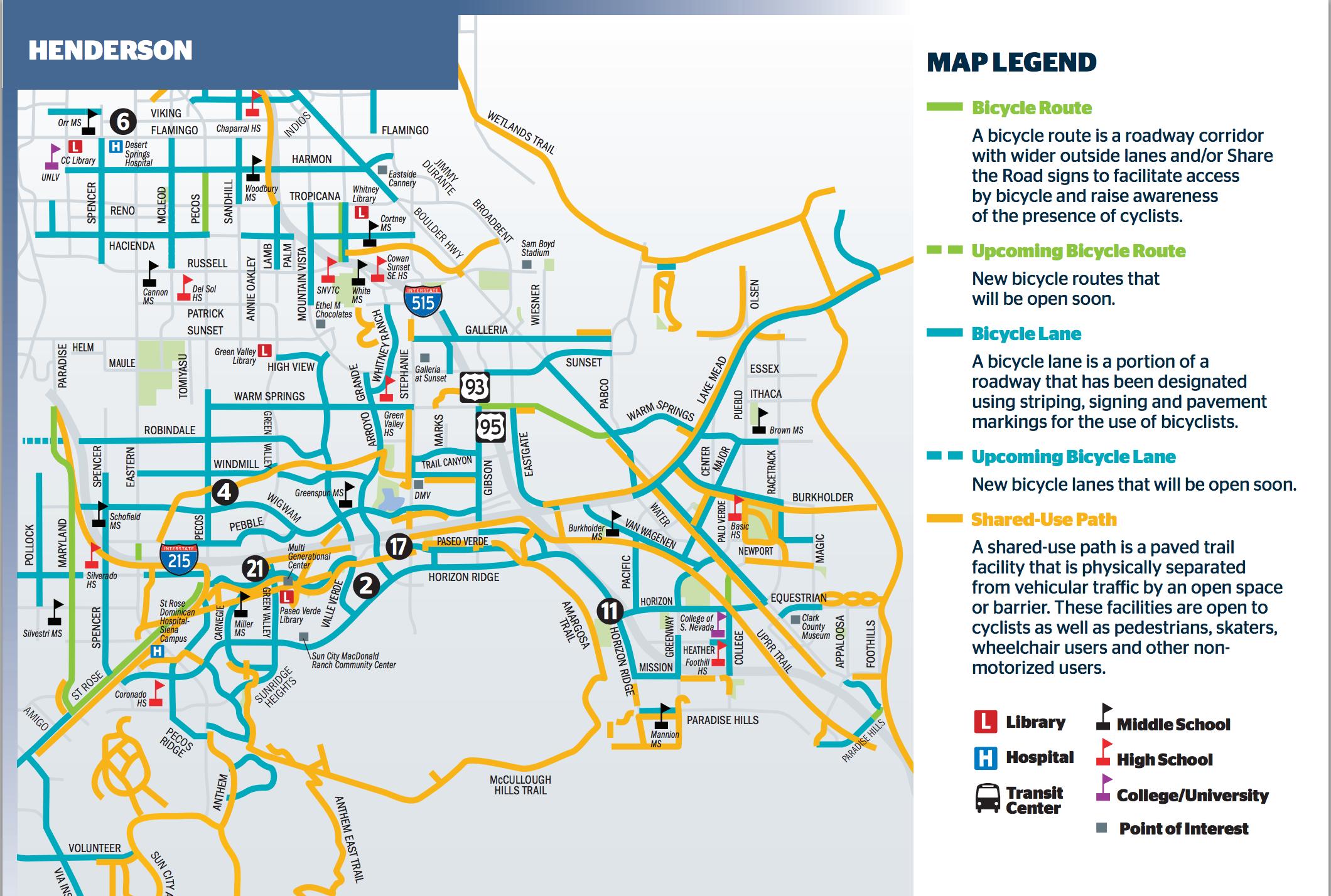 A bike map of Henderson