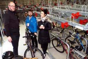 Darren showing colleagues around the new Cycle Hub