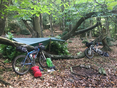 A typical bikepacking shelter set up